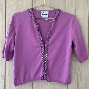 Lilly Pulitzer Silk/Cashmere Blend Purple Shrug